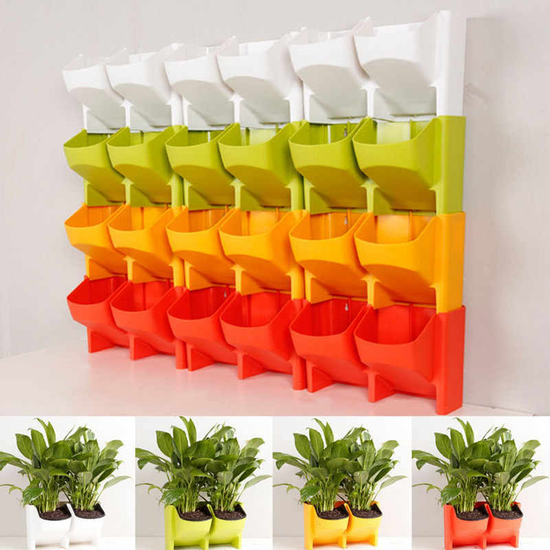 2-Pocket Verticale Muur Planter Self Watering Opknoping Bloempot Tuin Decoratie
