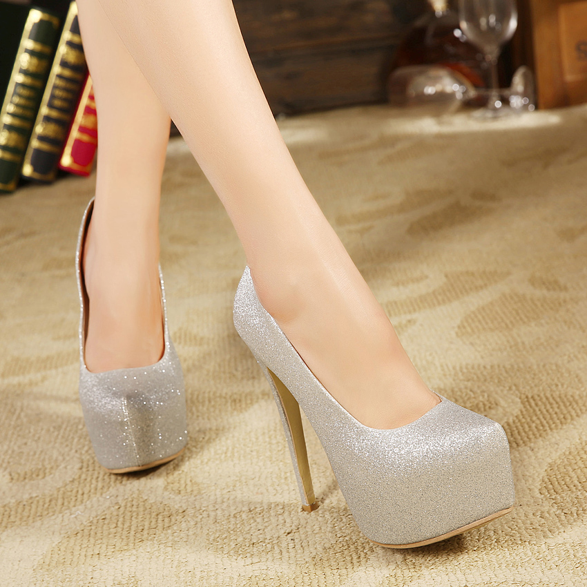 ФОТО high heels Sequined Cloth pumps round toe platform wedding shoes sy-1060