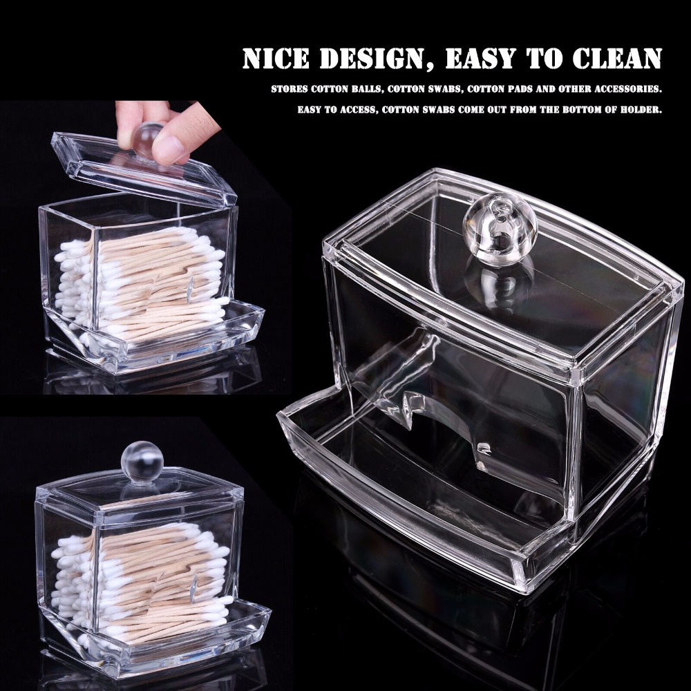New Creative Clear Acrylic Q-Tip Storage Holder Box Transparent Cotton  Swabs Stick Cosmetic Makeup