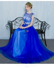 100%real royal blue beading waist flower embroidery long dress Medieval dress Renaissance gown royal dress Victoria dress
