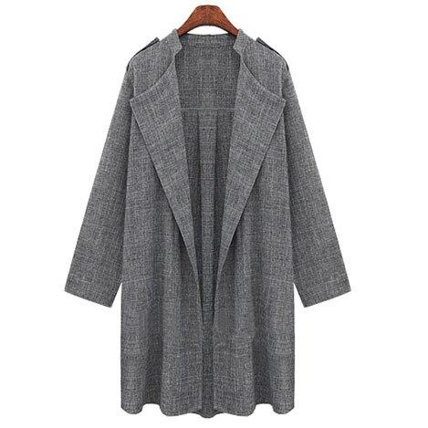2018 New Women Long Coat Breasted Gray Suit Loose Blazer Jacket Linen Suit Womens Plus Size Ladies Outerwear Women Suits Work 1