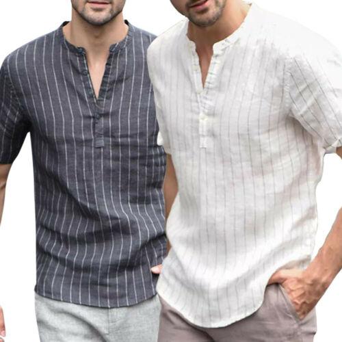 Fashion Men's Linen V-neck Short Sleeve Striped Loose Basic T-shirt Top Gentlemen Summer Casual Comfortable Breathable Tee M-XXL