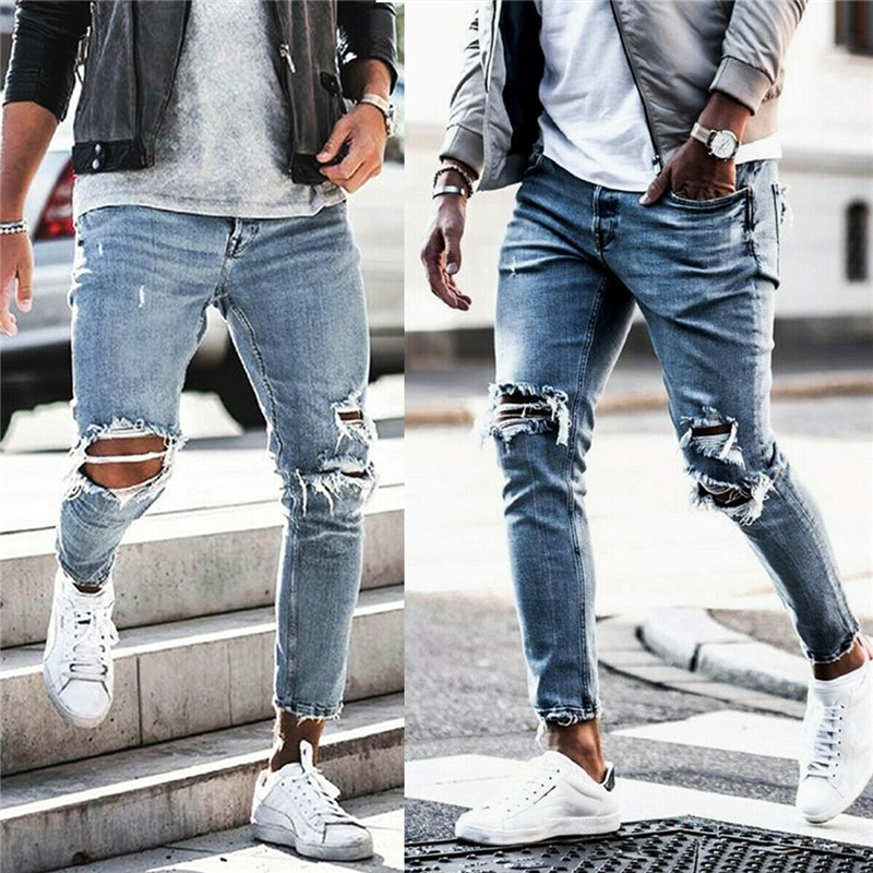 Mens Solid Color Jeans 2019 New Fashion Slim Pencil Pants Sexy Casual Hole Ripped Design Streetwear Denim Trousers