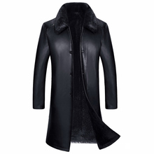 European and American Style Men Faux Trench Coats Long Leather Sheepskin Jacket and Coat Male Fur Leather Coat Winter Style C274