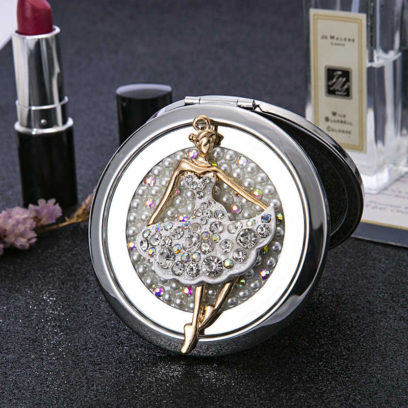 Free Customized engraving,Party Favors Gifts,Mini Pocket Cosmetic makeup mirror,Foldable Magnifying compact mirror,Ballet Girl