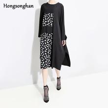 Hongsonghan 2019 large size women dress full sleeve dot pattern irregular cut plaid spliced O-neck collar spring dresses tide