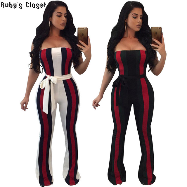 8dc46e83fda Ruby s Closet Sexy strapless Women Autumn Jumpsuits black red green striped  boot cut jumpsuit women with belt off shoulder L5137