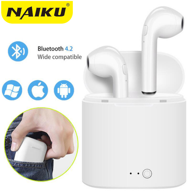 Hot Sell NAIKU i7s TWS Mini Wireless Bluetooth Earphone Stereo Earbud Headset With Charging Box Mic For All Smart phone