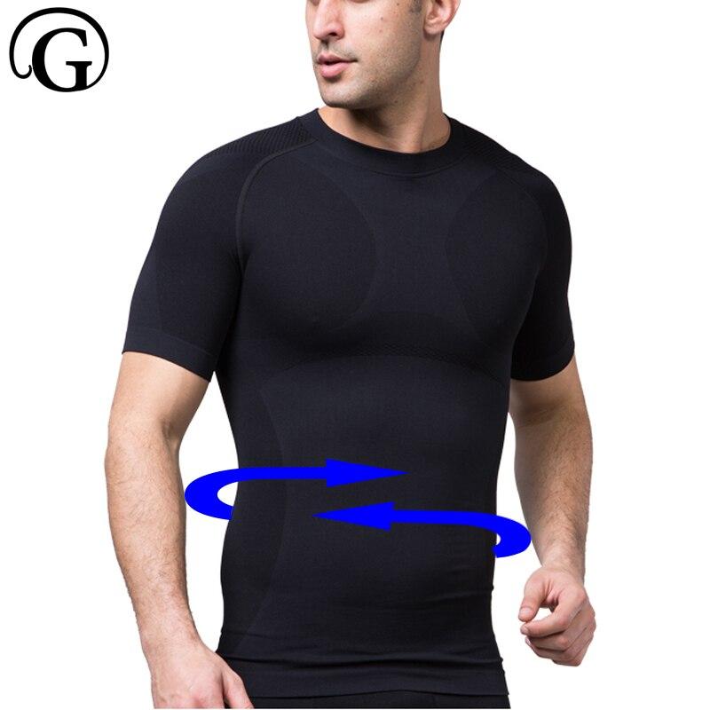 PRAYGER Men Body Shaper Compression Chest Slimming Waist Top Bodybuilding Vests Short Sleeves T Shirt Body Shapers