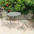 Conjuntos de jardín Al Aire Libre Muebles de jardín de estilo Europeo Muebles de metal al aire libre 2 sillas y 1 juegos de mesa plegable verde toda la venta