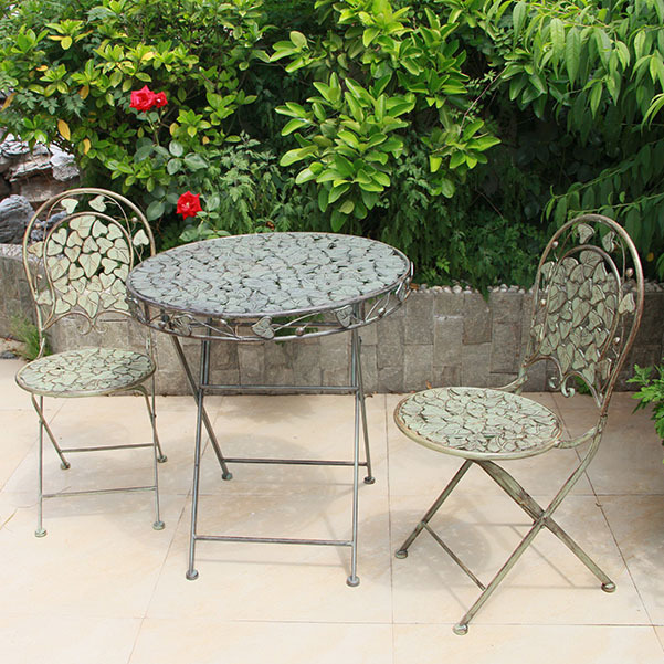 Garden Sets Outdoor Furniture European Style Metal 2 Chairs 1 Table Foldable Green Whole In From