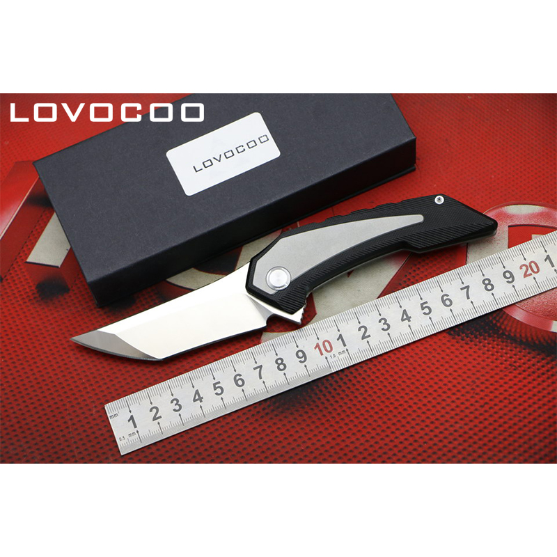 LOCOVOO ST-82 New arrival Flipper folding knife D2 blade Titanium handle Outdoor camping hunting Survival pocket knives EDC tool quality tactical folding knife d2 blade g10 steel handle ball bearing flipper camping survival knife pocket knife tools