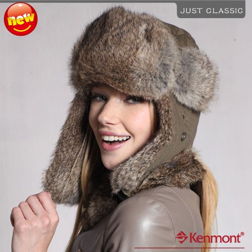d90459d7f42 Kenmont Holiday Sale Hot Promotion Winter Trapper Hat Genuine Rabbit Fur  Russian Hat Fashion Style 2134