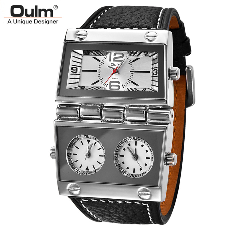 Oulm 2 Dials Unique Men's Watches Radio Design 3 Time Zone Big Watch Man Leather Strap Casual Sports Wristwatch relojes hombre mens watches oulm top brand luxury military quartz watch unique 3 small dials leather strap male wristwatch relojes hombre