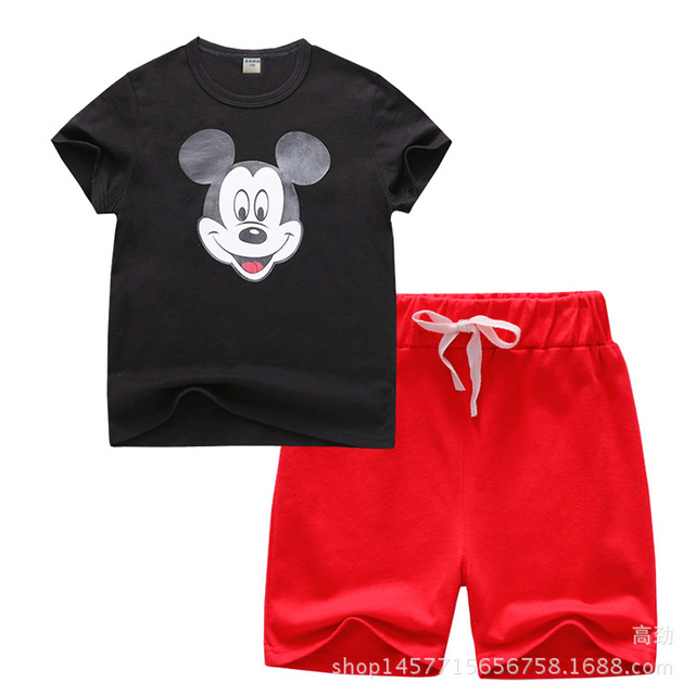 77d5d78789bbe Moda Verão Crianças Roupas Menino Mickey Terno Camiseta Manga Curta +  Shorts Da Criança Outfits