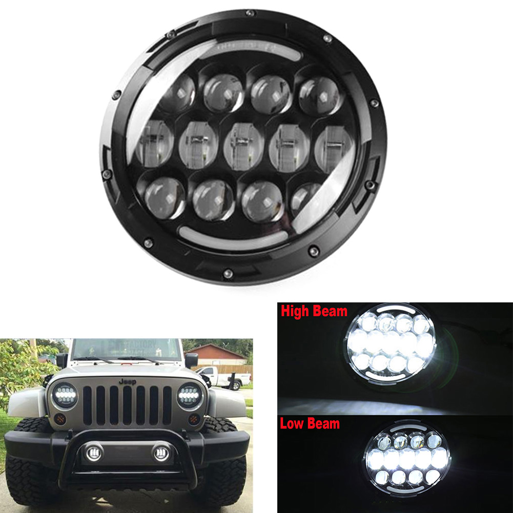 Car 7inch 78W H4 Car LED Headlight Projector Hi/Lo Beam DRL For Jeep Wrangler JK LJ on sale 1pair 30w 7inch motorcycle projector led bulb headlight 6000k hi lo beam for jeep wrangler jk humm
