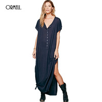 ORMELL Women Casual Style Short Sleeve Maxi Dress Sexy Loose Side Split Cotton Solid Ladies Summer