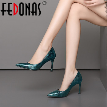FEDONAS Top Quality Basic Pumps Thin High Heels Pointed Toe Party Wedding Shoes Woman Genuine Leather Prom Pumps Office Pumps
