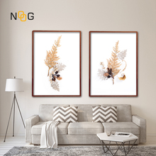 NOOG Minimalist Leaf Specimen Poster Art Wall, Nordic Style Plant Canvas Print Wall Picture Bedroom Decoration No Frame