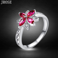 JROSE Pretty Beautiful Flowers Ruby Spinel White Topaz 18K White Gold Plated Ring Size 6 7 8 9 10 11 12 13 Wedding Jewelry