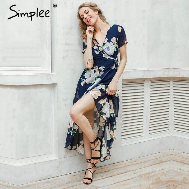 Simplee Сексуальный цветочный летний dress Макси свадьба dress женщины Boho v шеи винтаж платья vestidos