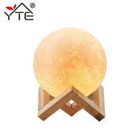 YTE Rechargeable 3D Print Moon Lamp 2 Color Change Touch Switch Bedroom Bookcase Usb Night Light