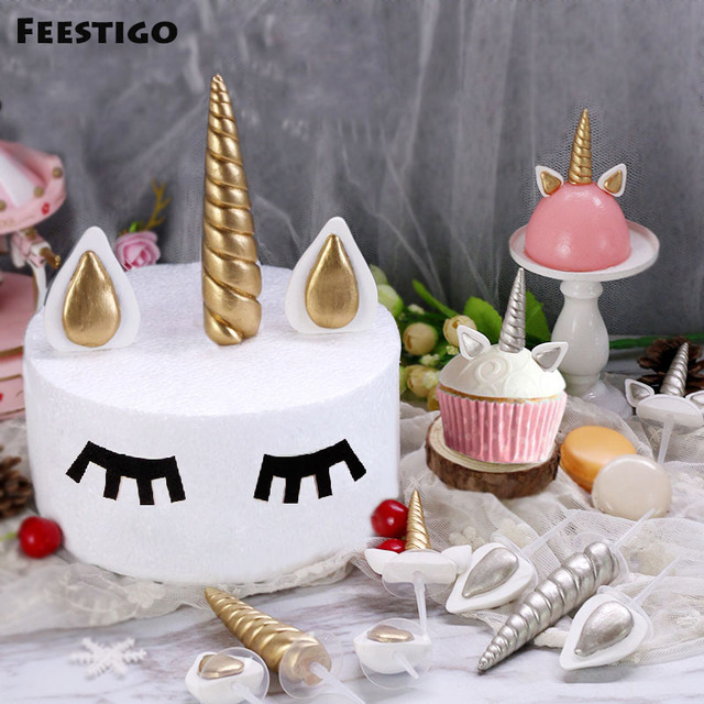 FEESTIGO 1Sets Soft Ceramics Gold Unicorn Cake Topper Party Toppers Wedding Birthday Baby Shower