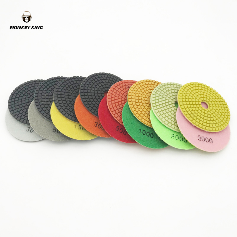 7 Pcs/lot 4 Inch 100mm Dry Wet Countertop Diamond Polishing Pad For Granite Agate Achates Carnelian Onyx Jades Bowlder Yu Stone Abrasive Tools
