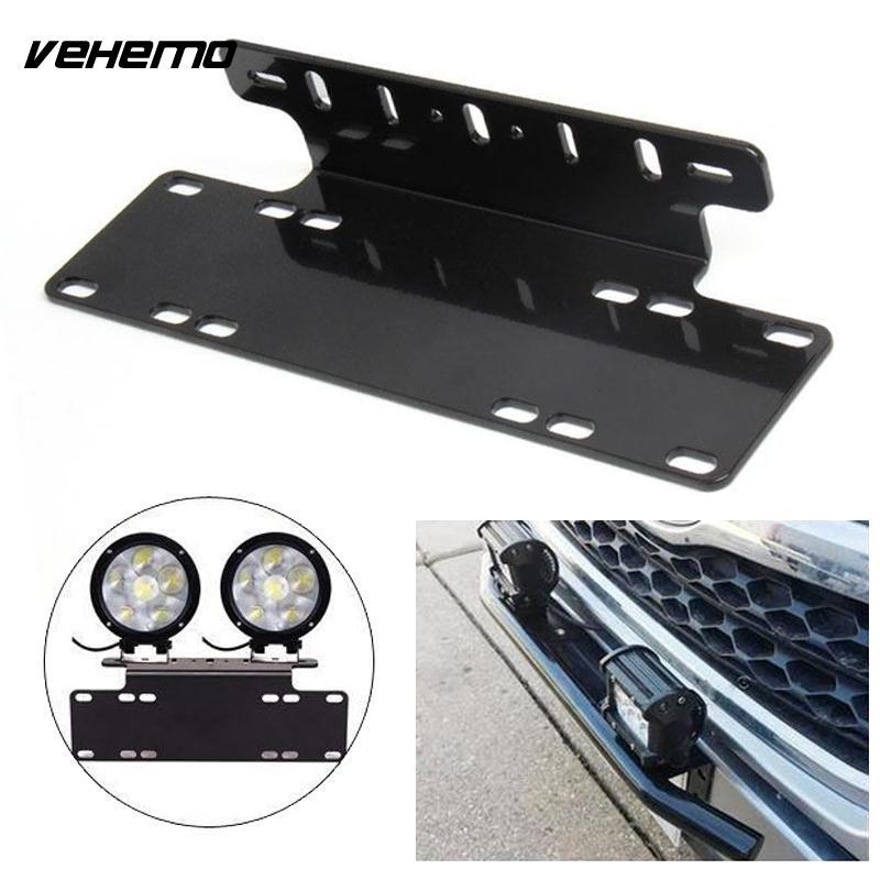 Vehemo Front Bumper License Plate Mount Stand Holder Bracket LED Light Offroad For Jeep Truck Universal Durable Black