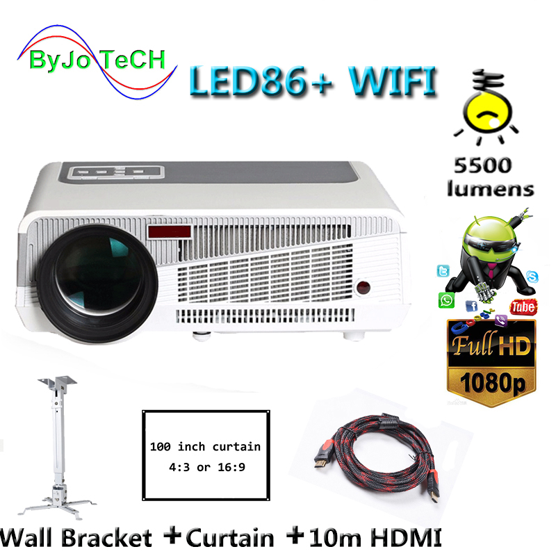 лучшая цена Poner Saund LED86+ WIFI 5500 lumens Full HD projector 1080P 3D Android 6.0 home theater 10m HDMI Curtain Wall Bracket Supports