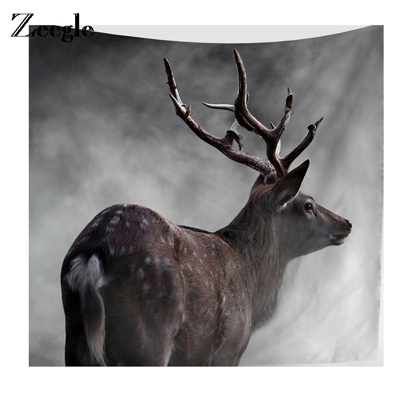 Home & Garden Zeegle Forest Deer Printed Tapestry For Living Room Wall Decor Sofa Chair Cover Fashion Beach Towel Bedspread Art 2 Size