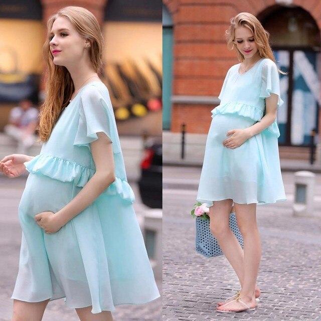 c93dab220869c Maternity dress Pregnant women dress fashion elegant chiffon dress code  Korean summer pregnant women