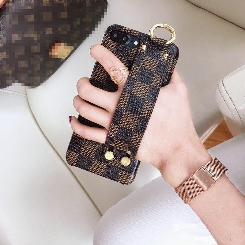 Gird cas couverture Pour iphone X flip en cuir Grip starp Cas Pour iphone7 7 Plus 6 6 S Plus Célèbre marque style