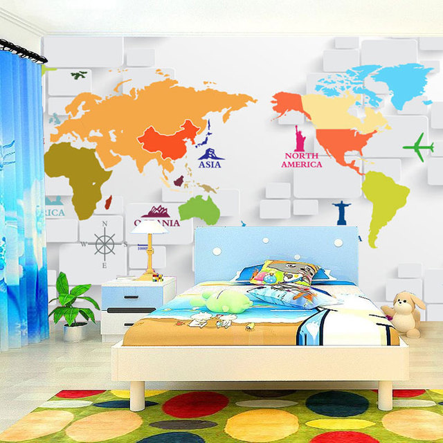 Custom 3d photo wallpaper 3d stereoscopic world map wallpaper for custom 3d photo wallpaper 3d stereoscopic world map wallpaper for kids room living room wall mural gumiabroncs Gallery