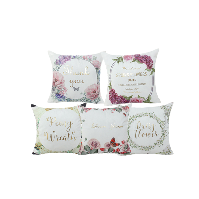 Spring New Arrival Bronzing Decorative Cushion Cover Nordic Flowers Plants Animal Letter Printed Pillowcase Throw Pillow Cover