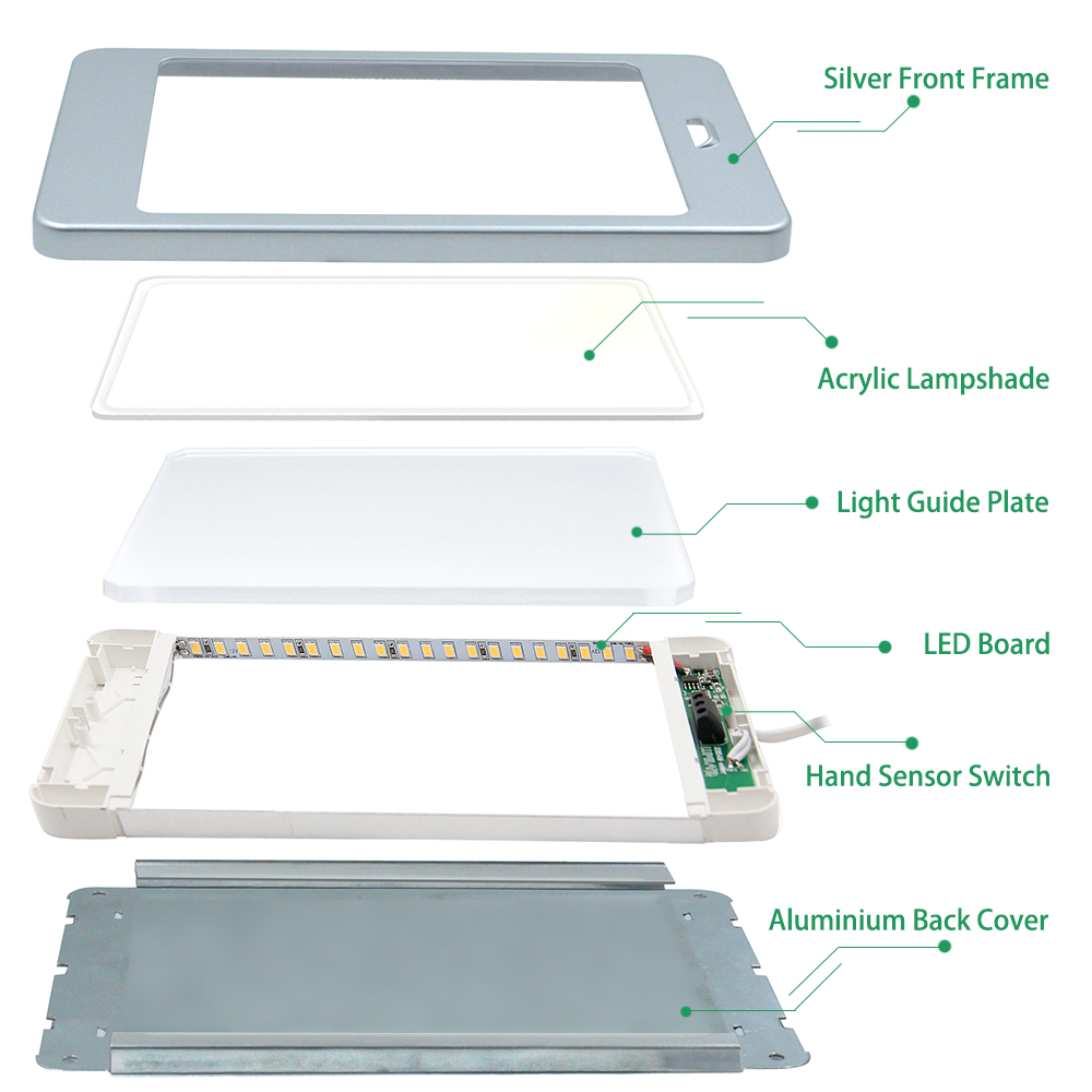 Capteur de main sans contact 5 W LED sous armoire armoire lampe panneau lumineux DC12V câblé adaptateur d'alimentation éclairage blanc - 4