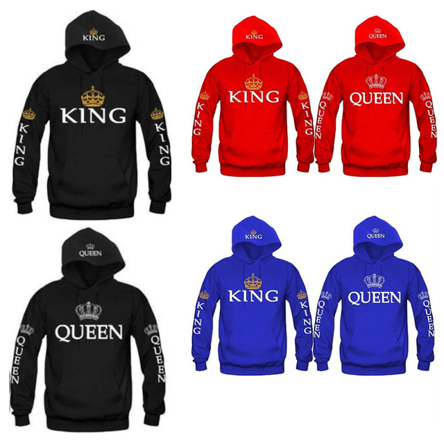 b70e33a507 King Queen Sweatshirt Hoodies Men Women Casual Crown Print Pullovers Tops  Front Pocket couple clothessudadera mujer