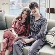 JULYS SONG Woman Man Autumn Winter Pajamas Set Sleepwear Couple Pajamas Gold Velvet Top And Pants Pajamas Long Sleeve Homewear