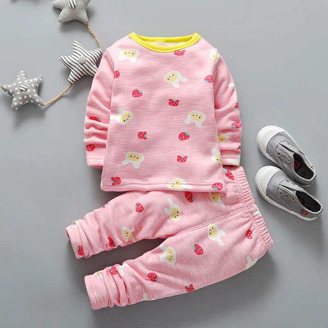Winter Boys/Girls Cute Cartoon Clothing Child O-neck Plus Velvet Thickening Thermal Underwear Set