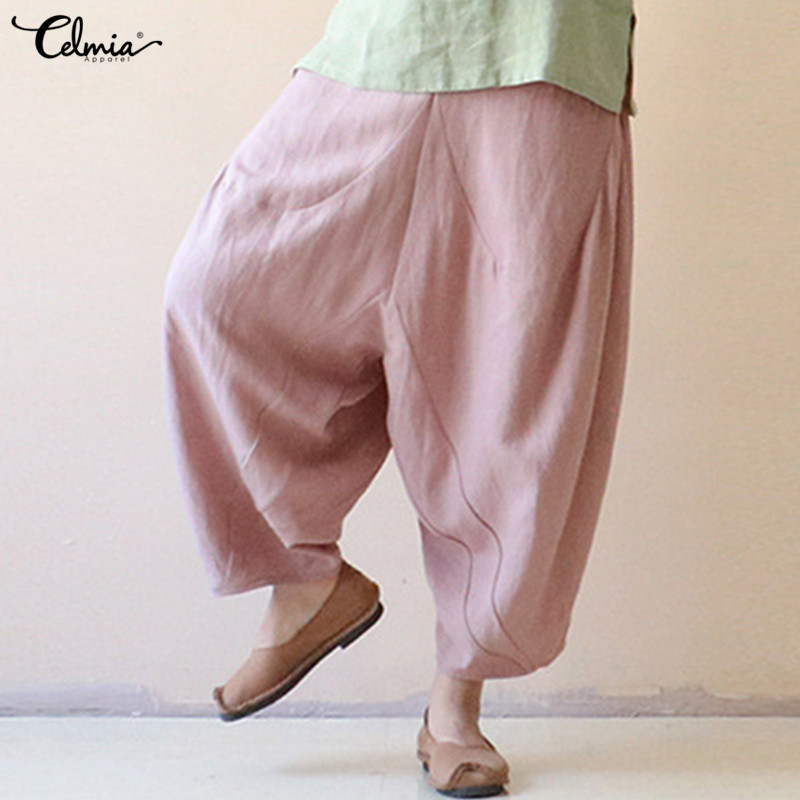 Celmia 2019 Cotton Linen   Wide     Leg     Pants   Vintage Women Palazzo   Pants   Casual Baggy Harem   Pant   Trouser Summer Pantalons Plus Size