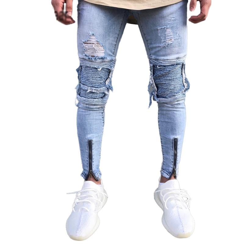 US $36.5 |Designer Slim Fit Ripped skinny Jeans Men Hi Street Mens Distressed Denim Joggers Knee Holes Washed Destroyed Jeans in Jeans from Men's