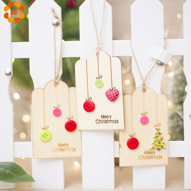 1PCS DIY Christmas Wooden Pendants Button Decor Cute Heart Ornament Wood Crafts For Xmas Tree Christmas Party Hanging Decoration