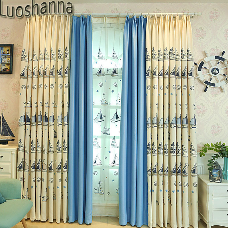 Cartoon Sailing Ship Design Shading Curtain Blackout: Luoshanna Modern Style Cartoon Sailboat Boys Girls
