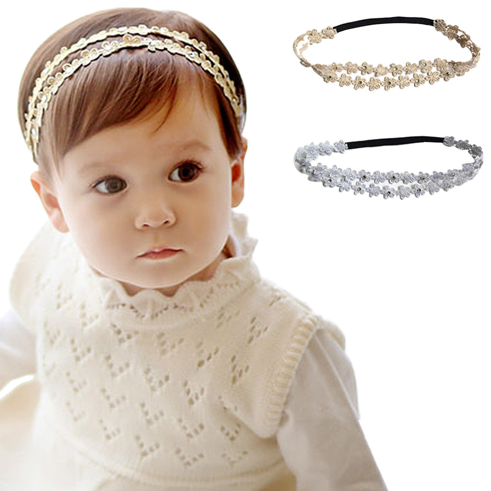 Золотая/Серебристая Детская повязка на голову с цветком модная резинка для волос для маленьких девочек повязка на голову с цветами Детские ...