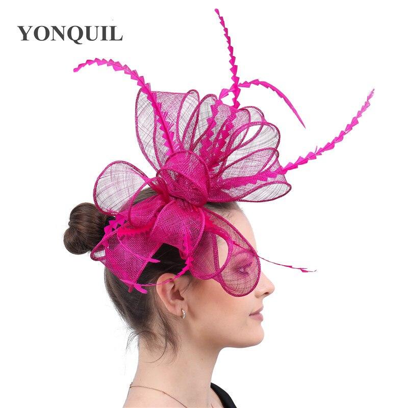 Элегантные головные уборы sinamay, Свадебные шляпы для невесты, высококачественные Коктейльные головные уборы, вечерние головные уборы, несколько цветов - Цвет: magenta