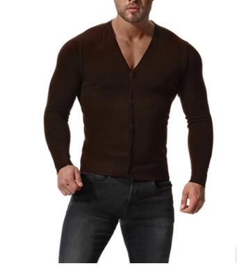 2019 New Autumn Winter Men's Sweaters Plus Size Slim V-Neck Tops Long Sleeve Solid Color Knit Shirt Single-Breasted Clothing