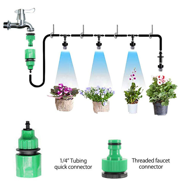 10 m 20 pcs Mist Sprinkler Nozzle Water Verneveling Cooling Systeem Outdoor Tuin Patio Kas Planten Spuiten Slang Watering Kit