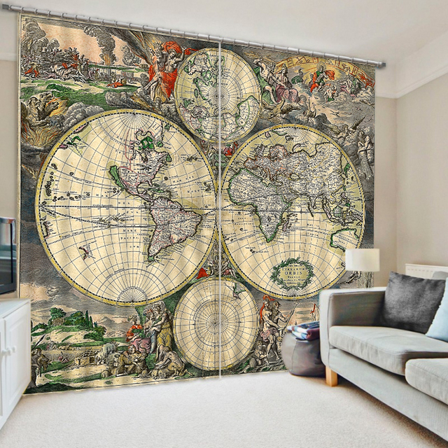 office window curtains blind vintage world map window curtains thick backout office shround home decoration bedding living room curtain customized