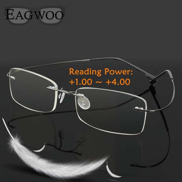 Rimelss Stainless Steel Flexible Eyeglasses Prescription Spectacles Presbyopic Hyperopia Far-sighted Reading Glasses Strength