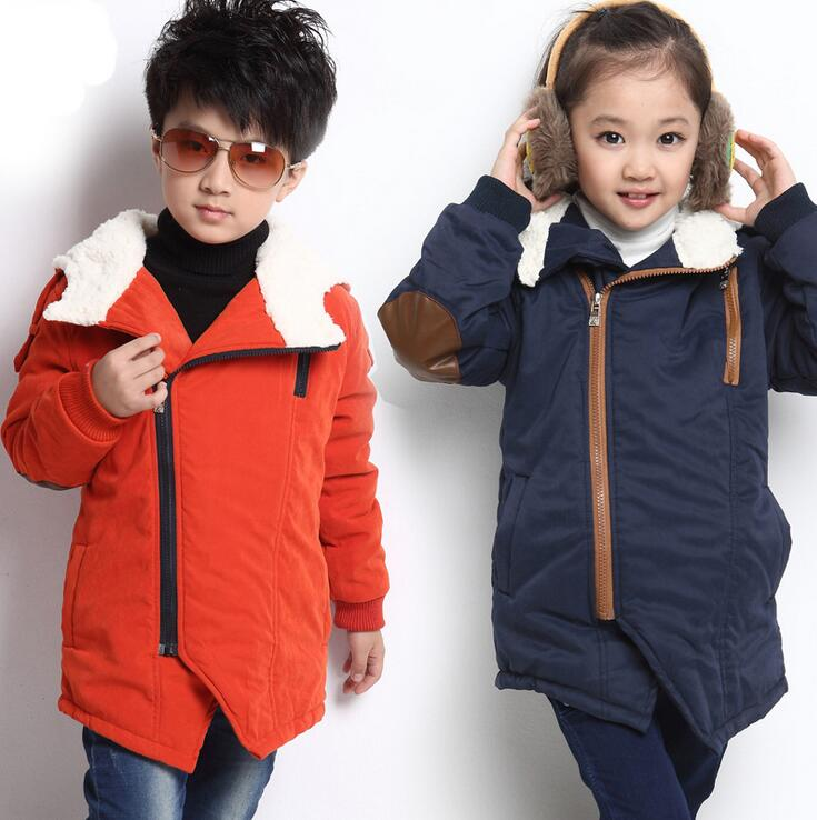 Solid Color Thicken Coats For Children Fashion Oblique Zipper Plus Cashmere Girls Parkas Hooded Long Sleeve Winter Boys Clothes stylish hooded long sleeve solid color pocket design women s belted cardigan